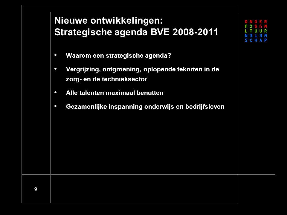 9 Nieuwe ontwikkelingen: Strategische agenda BVE 2008-2011 Waarom een strategische agenda? Vergrijzing, ontgroening, oplopende tekorten in de zorg- en