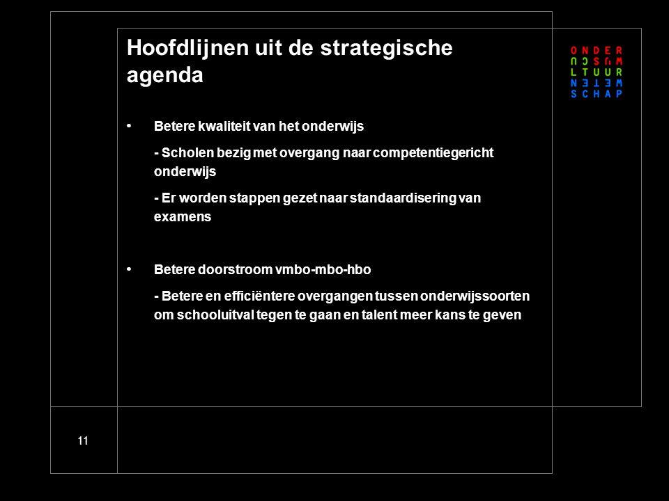 11 Hoofdlijnen uit de strategische agenda Betere kwaliteit van het onderwijs - Scholen bezig met overgang naar competentiegericht onderwijs - Er worde