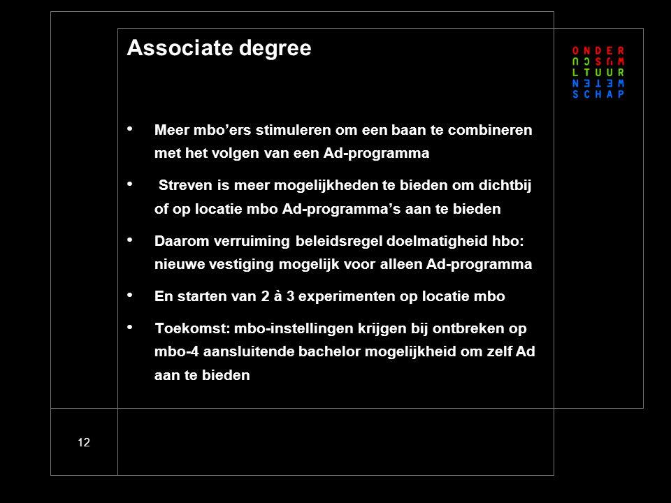 12 Associate degree Meer mbo'ers stimuleren om een baan te combineren met het volgen van een Ad-programma Streven is meer mogelijkheden te bieden om d