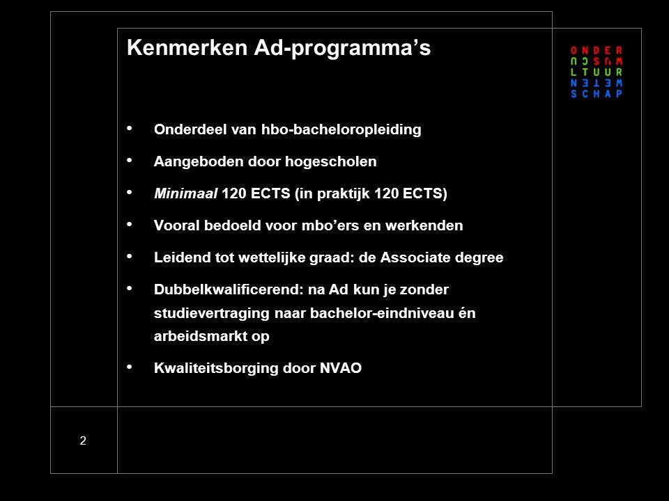 2 Kenmerken Ad-programma's Onderdeel van hbo-bacheloropleiding Aangeboden door hogescholen Minimaal 120 ECTS (in praktijk 120 ECTS) Vooral bedoeld voo
