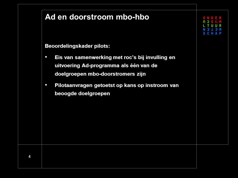 4 Ad en doorstroom mbo-hbo Beoordelingskader pilots: Eis van samenwerking met roc's bij invulling en uitvoering Ad-programma als één van de doelgroepen mbo-doorstromers zijn Pilotaanvragen getoetst op kans op instroom van beoogde doelgroepen
