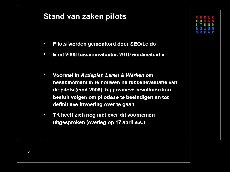 6 Stand van zaken pilots Pilots worden gemonitord door SEO/Leido Eind 2008 tussenevaluatie, 2010 eindevaluatie Voorstel in Actieplan Leren & Werken om beslismoment in te bouwen na tussenevaluatie van de pilots (eind 2008); bij positieve resultaten kan besluit volgen om pilotfase te beëindigen en tot definitieve invoering over te gaan TK heeft zich nog niet over dit voornemen uitgesproken (overleg op 17 april a.s.)