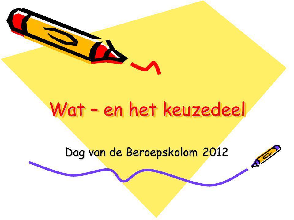 Wat – en het keuzedeel Dag van de Beroepskolom 2012