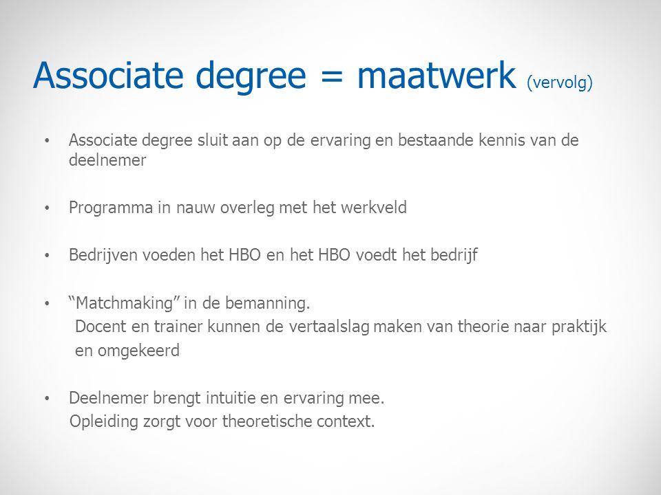 Associate degree = maatwerk (vervolg) Associate degree sluit aan op de ervaring en bestaande kennis van de deelnemer Programma in nauw overleg met het