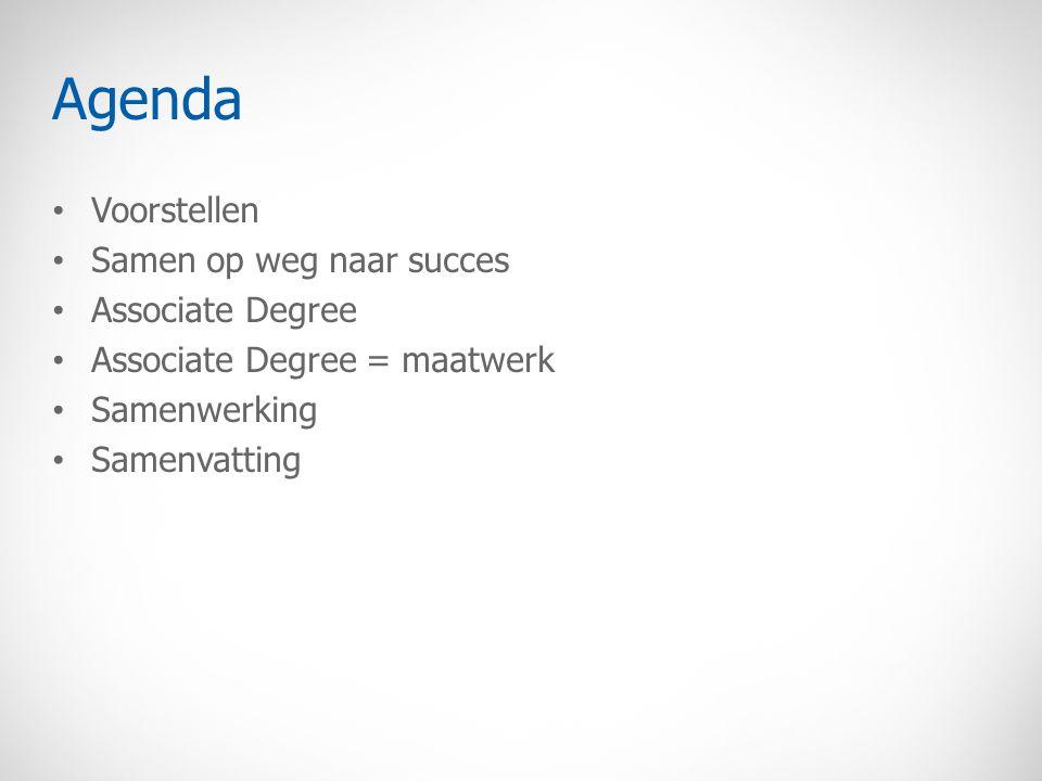 Agenda Voorstellen Samen op weg naar succes Associate Degree Associate Degree = maatwerk Samenwerking Samenvatting