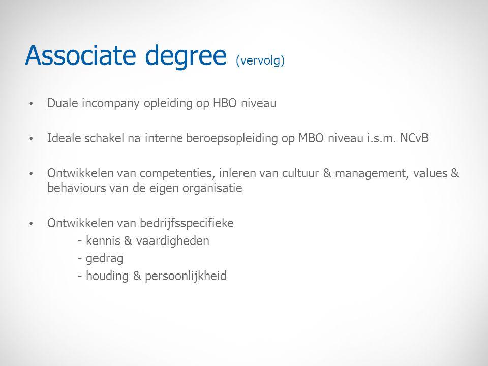 Associate degree (vervolg) Duale incompany opleiding op HBO niveau Ideale schakel na interne beroepsopleiding op MBO niveau i.s.m. NCvB Ontwikkelen va