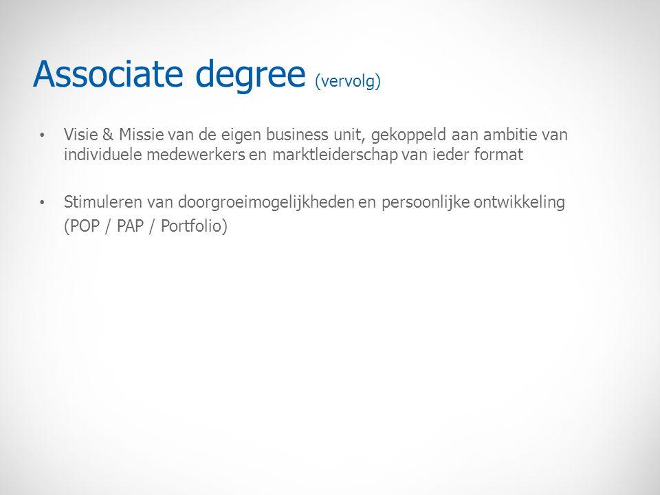 Associate degree (vervolg) Visie & Missie van de eigen business unit, gekoppeld aan ambitie van individuele medewerkers en marktleiderschap van ieder format Stimuleren van doorgroeimogelijkheden en persoonlijke ontwikkeling (POP / PAP / Portfolio)
