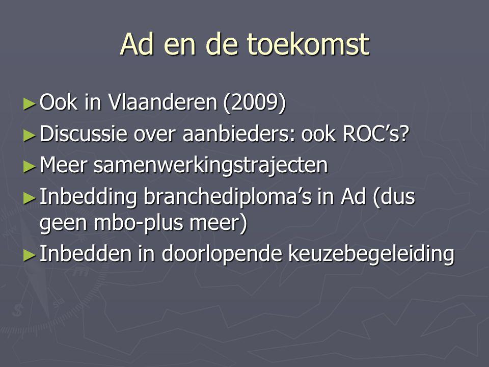Ad en de toekomst ► Ook in Vlaanderen (2009) ► Discussie over aanbieders: ook ROC's.
