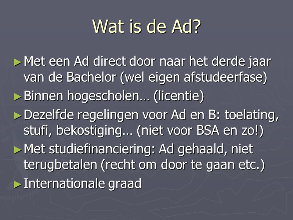 Wat is de Ad.