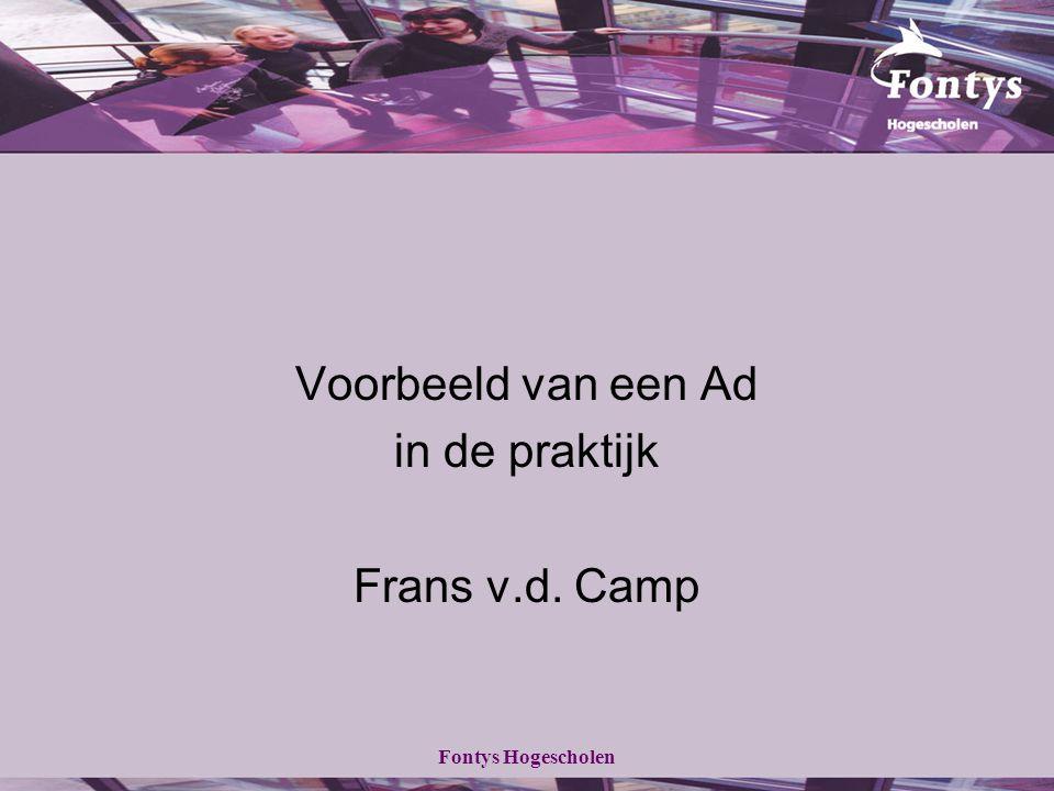 Voorbeeld van een Ad in de praktijk Frans v.d. Camp