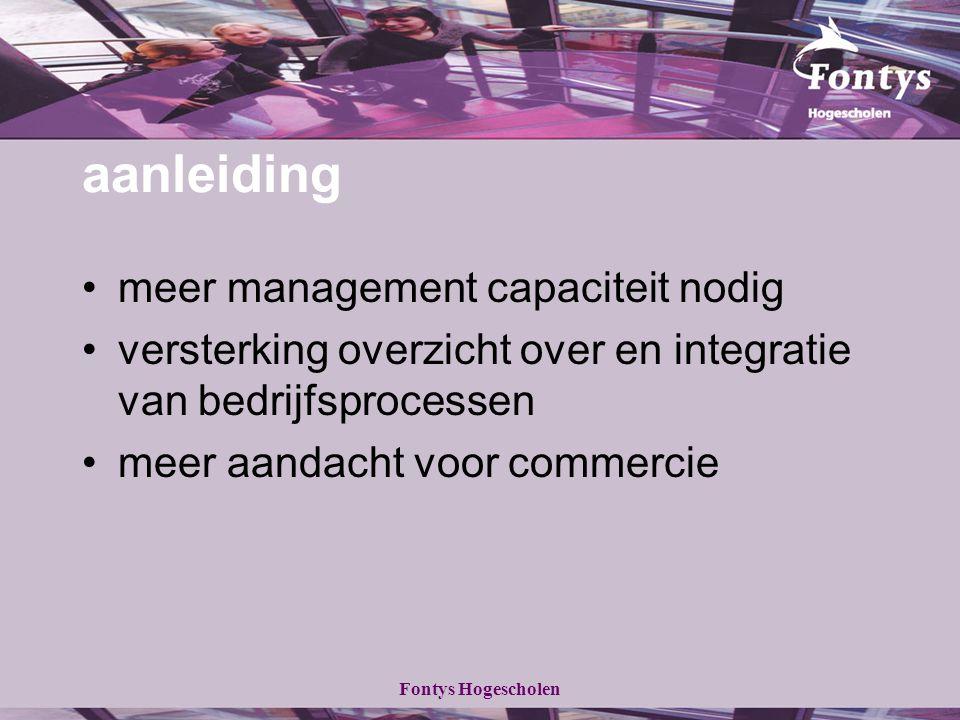 Fontys Hogescholen aanleiding meer management capaciteit nodig versterking overzicht over en integratie van bedrijfsprocessen meer aandacht voor commercie