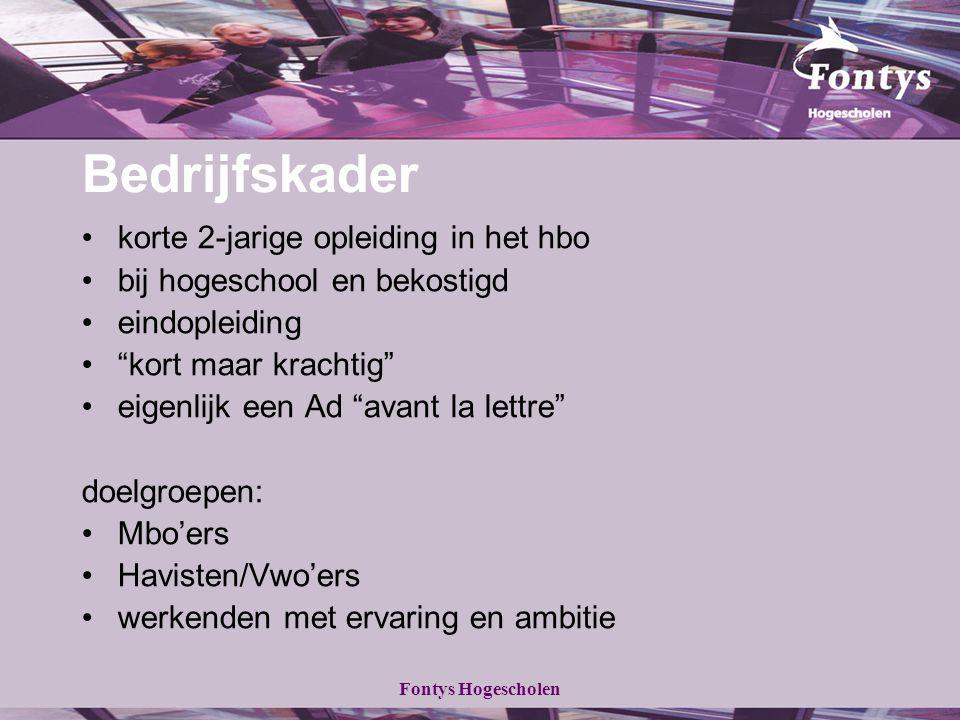 Fontys Hogescholen BAMA Besluit in 2001: einde kort-HBO >einde Bedrijfskader (in 2005) enige mogelijkheid: uitbouw tot bacheloropleiding In 2005-2006: besluit tot ombouw tot Associate degree-programma