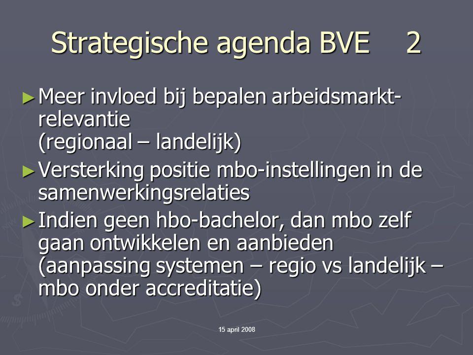 15 april 2008 Strategische agenda BVE 2 ► Meer invloed bij bepalen arbeidsmarkt- relevantie (regionaal – landelijk) ► Versterking positie mbo-instellingen in de samenwerkingsrelaties ► Indien geen hbo-bachelor, dan mbo zelf gaan ontwikkelen en aanbieden (aanpassing systemen – regio vs landelijk – mbo onder accreditatie)