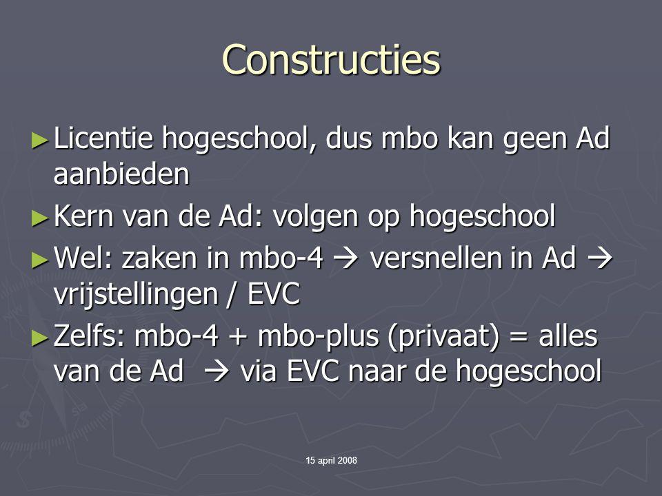 15 april 2008 Dus… ► Alles wijst erop dat er wordt ingezet op een beroepskolom waarin mbo'ers drie routes kennen: - 4  duale Ad  werken enz.