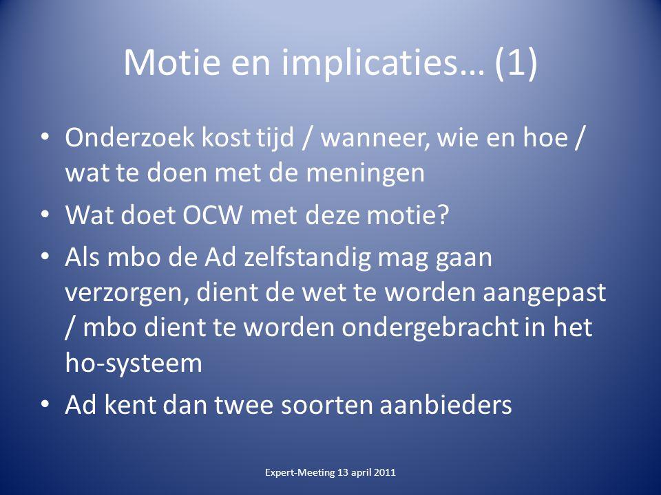 Motie en implicaties… (1) Onderzoek kost tijd / wanneer, wie en hoe / wat te doen met de meningen Wat doet OCW met deze motie.