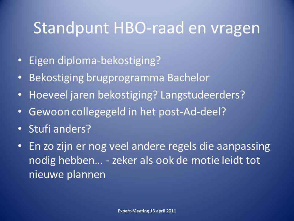 Standpunt HBO-raad en vragen Eigen diploma-bekostiging.