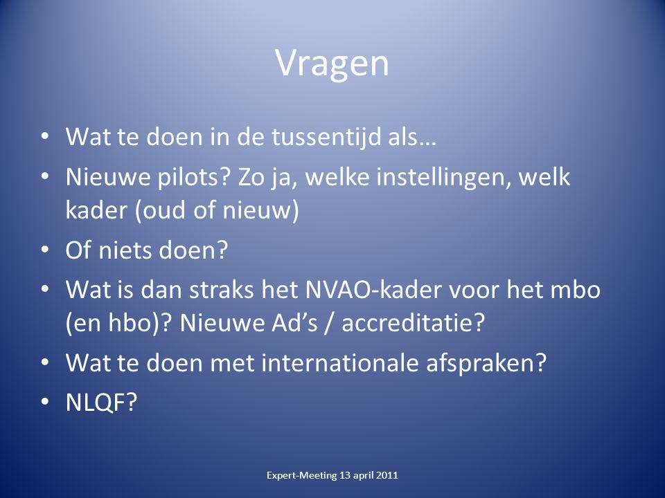 Vragen Wat te doen in de tussentijd als… Nieuwe pilots.