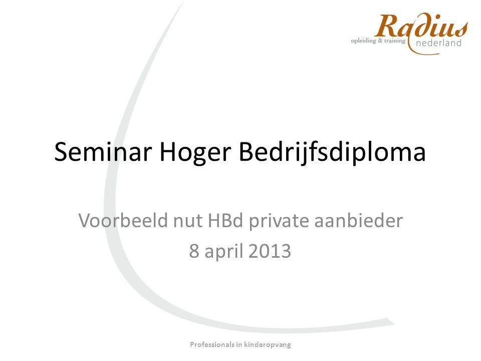 Seminar Hoger Bedrijfsdiploma Voorbeeld nut HBd private aanbieder 8 april 2013 Professionals in kinderopvang