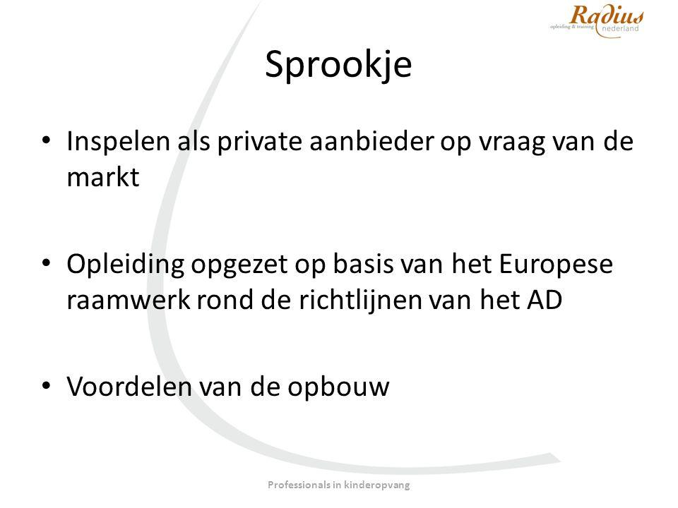 Sprookje Inspelen als private aanbieder op vraag van de markt Opleiding opgezet op basis van het Europese raamwerk rond de richtlijnen van het AD Voordelen van de opbouw Professionals in kinderopvang