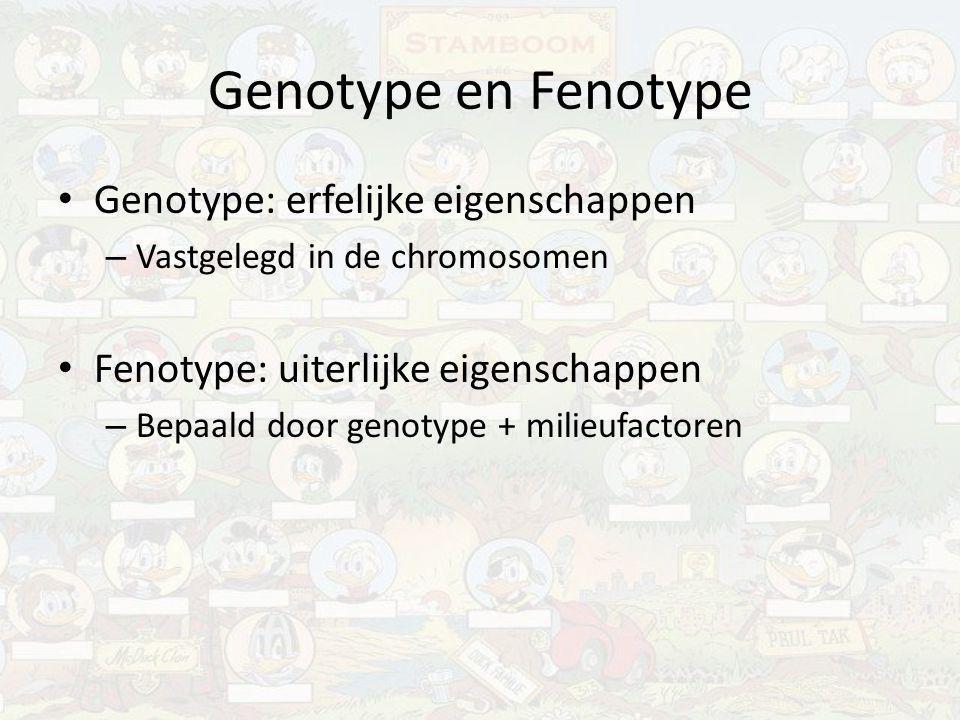 Genotype en Fenotype Genotype: erfelijke eigenschappen – Vastgelegd in de chromosomen Fenotype: uiterlijke eigenschappen – Bepaald door genotype + mil