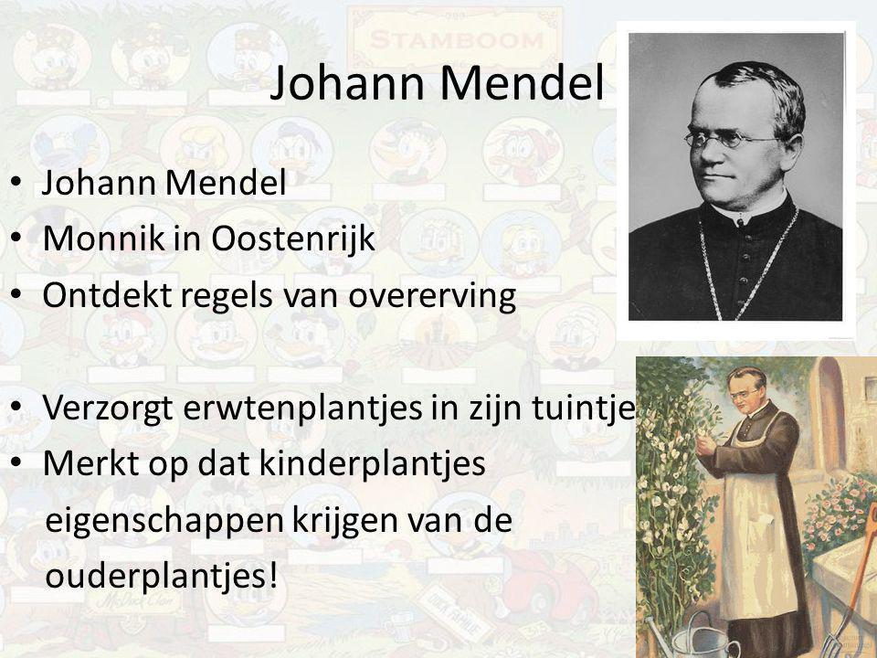 Johann Mendel Monnik in Oostenrijk Ontdekt regels van overerving Verzorgt erwtenplantjes in zijn tuintje Merkt op dat kinderplantjes eigenschappen kri