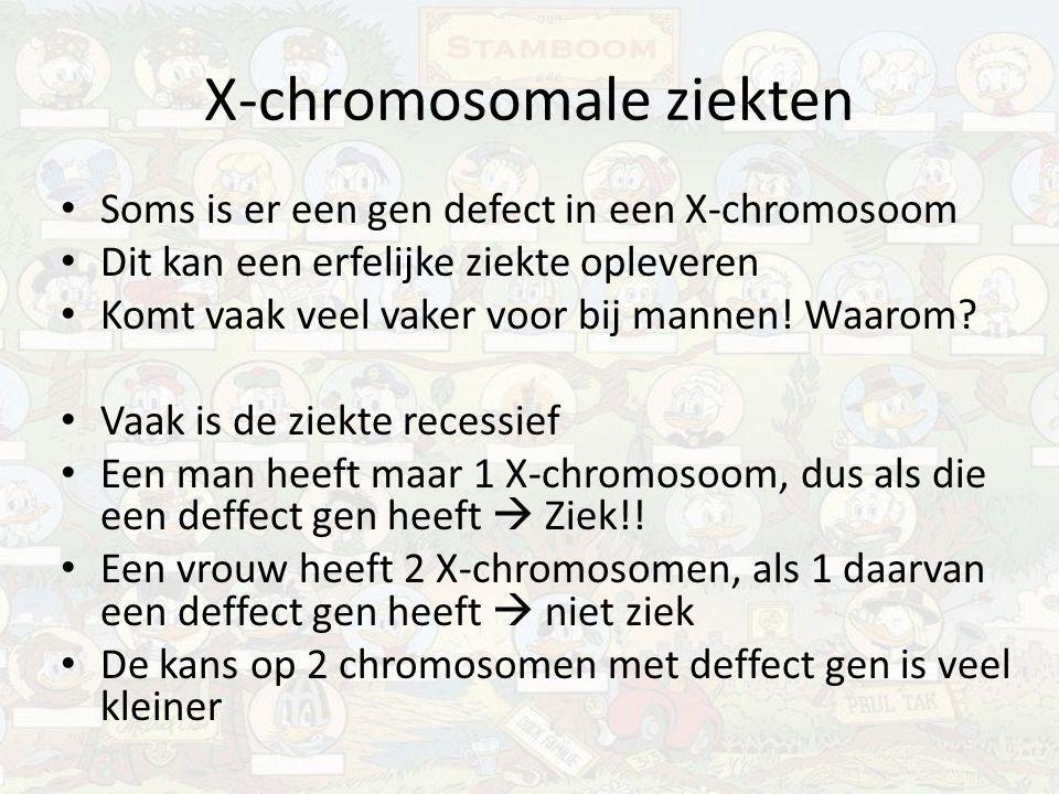 X-chromosomale ziekten Soms is er een gen defect in een X-chromosoom Dit kan een erfelijke ziekte opleveren Komt vaak veel vaker voor bij mannen! Waar