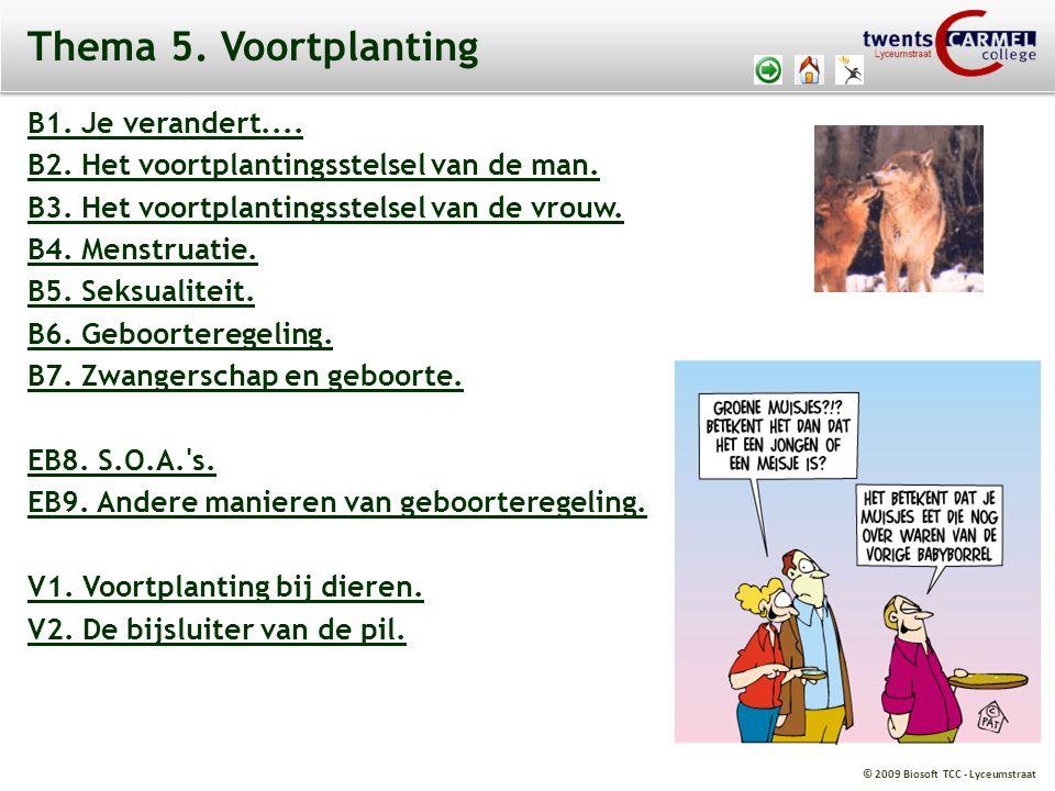 © 2009 Biosoft TCC - Lyceumstraat Thema 5. Voortplanting B1. Je verandert.... B2. Het voortplantingsstelsel van de man. B3. Het voortplantingsstelsel