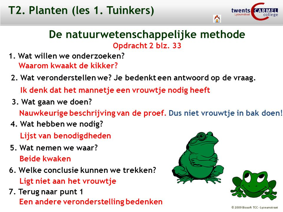 © 2009 Biosoft TCC - Lyceumstraat T2. Planten (les 1. Tuinkers) De natuurwetenschappelijke methode Opdracht 2 blz. 33 1. Wat willen we onderzoeken? Wa