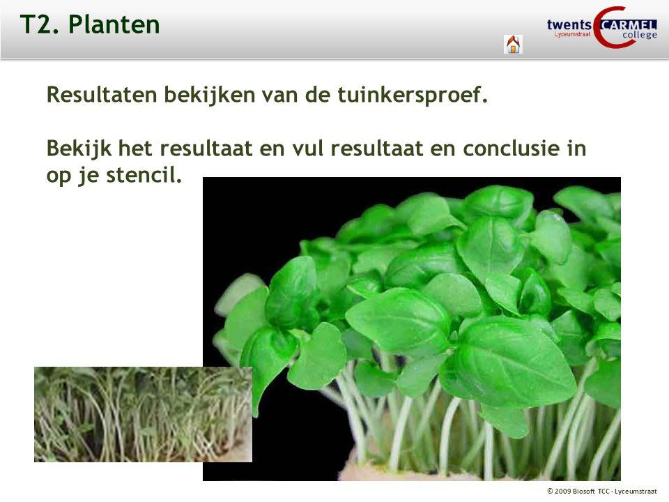 © 2009 Biosoft TCC - Lyceumstraat T2. Planten Resultaten bekijken van de tuinkersproef. Bekijk het resultaat en vul resultaat en conclusie in op je st