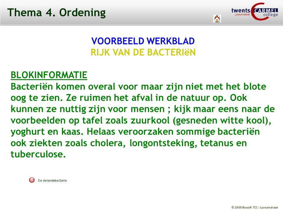 © 2009 Biosoft TCC - Lyceumstraat Thema 4. Ordening VOORBEELD WERKBLAD RIJK VAN DE BACTERIëN BLOKINFORMATIE Bacteriën komen overal voor maar zijn niet
