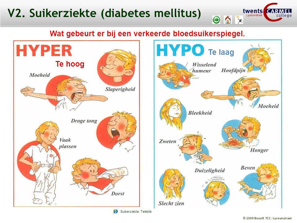 © 2009 Biosoft TCC - Lyceumstraat V2. Suikerziekte (diabetes mellitus) Wat gebeurt er bij een verkeerde bloedsuikerspiegel. Te hoog Te laag Suikerziek