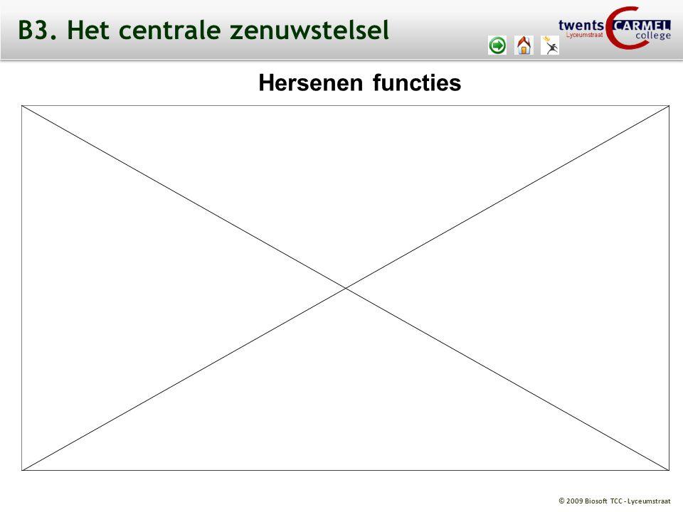 © 2009 Biosoft TCC - Lyceumstraat Hersenen functies B3. Het centrale zenuwstelsel