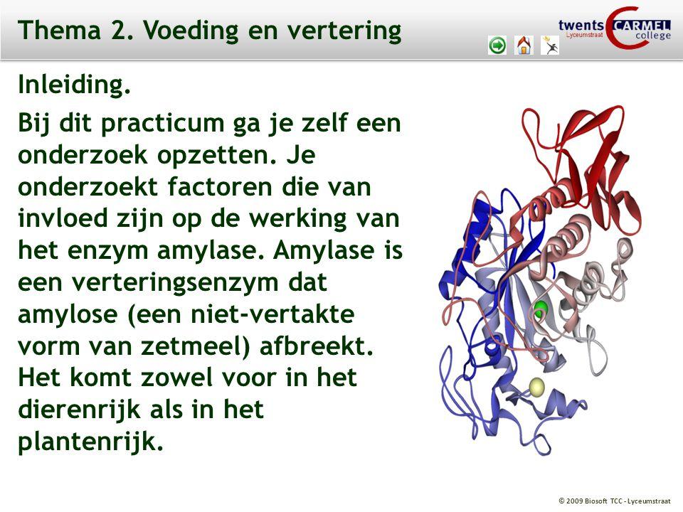 © 2009 Biosoft TCC - Lyceumstraat Thema 2. Voeding en vertering Inleiding. Bij dit practicum ga je zelf een onderzoek opzetten. Je onderzoekt factoren