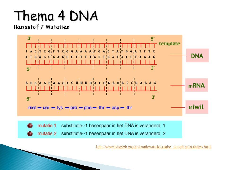 Thema 4 DNA Basisstof 7 Mutaties http://www.bioplek.org/animaties/moleculaire_genetica/mutaties.html