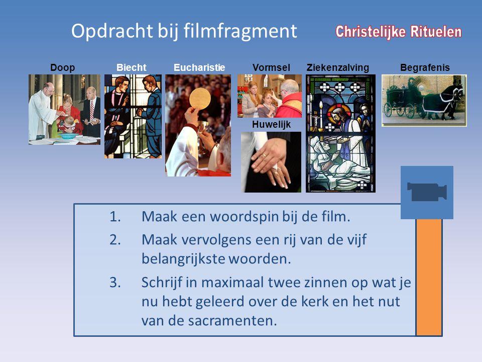Biecht Opdracht bij filmfragment DoopEucharistieVormselZiekenzalving Huwelijk Begrafenis 1.Maak een woordspin bij de film. 2.Maak vervolgens een rij v