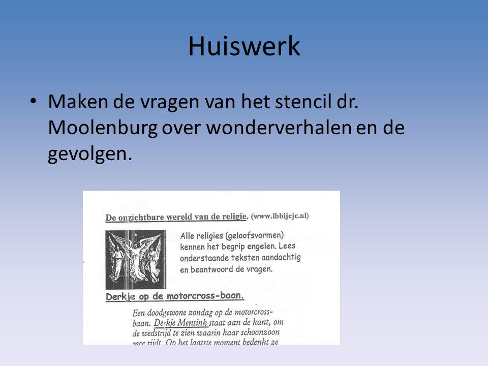 Huiswerk Maken de vragen van het stencil dr. Moolenburg over wonderverhalen en de gevolgen.
