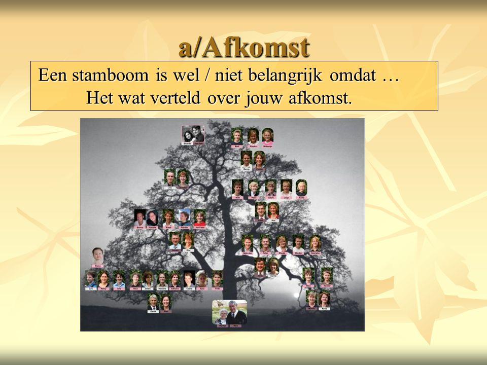 a/Afkomst Een stamboom is wel / niet belangrijk omdat … Het wat verteld over jouw afkomst.