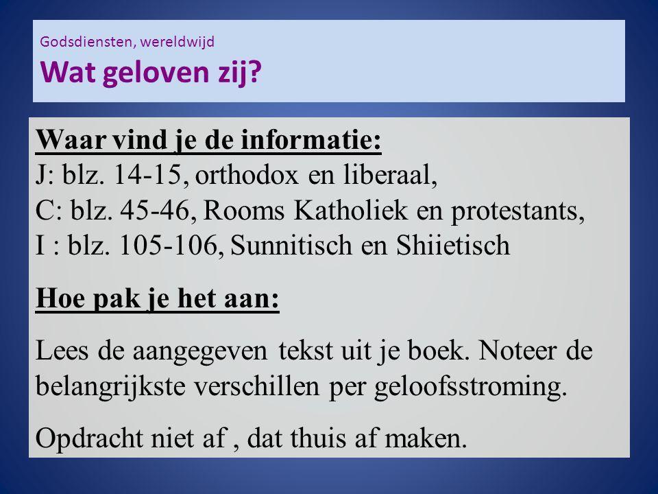 Godsdiensten, wereldwijd Wat geloven zij? Waar vind je de informatie: J: blz. 14-15, orthodox en liberaal, C: blz. 45-46, Rooms Katholiek en protestan