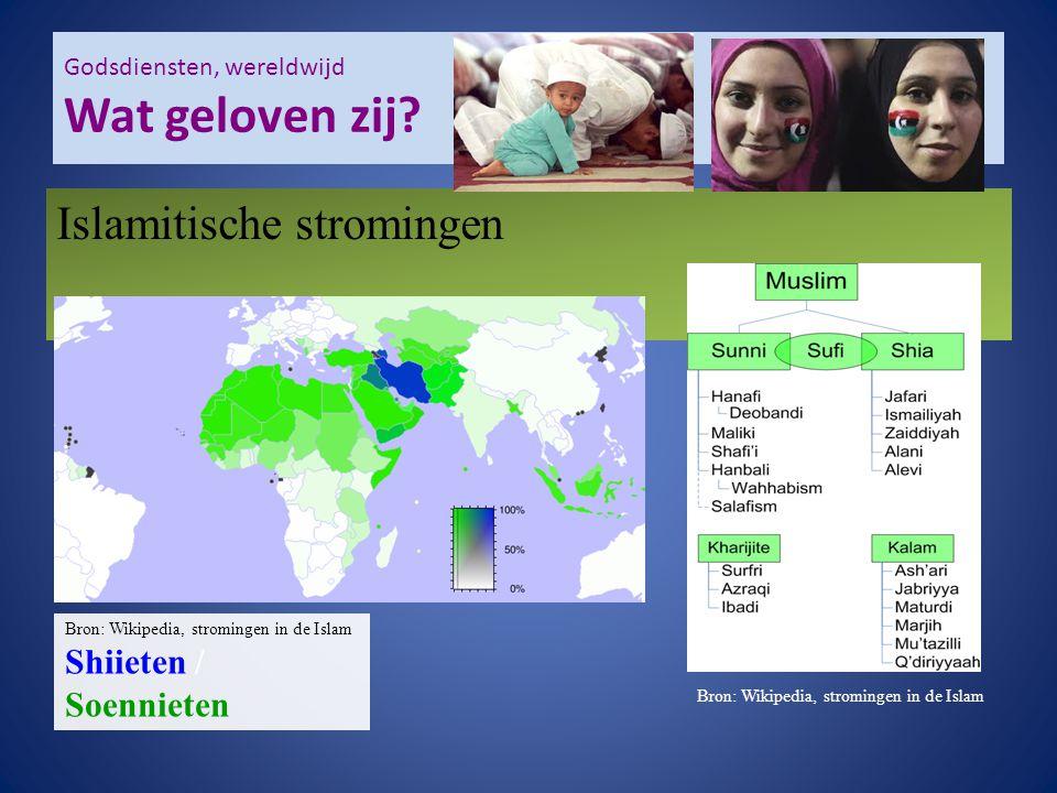 Godsdiensten, wereldwijd Wat geloven zij? Bron: Wikipedia, stromingen in de Islam Islamitische stromingen Bron: Wikipedia, stromingen in de Islam Shii