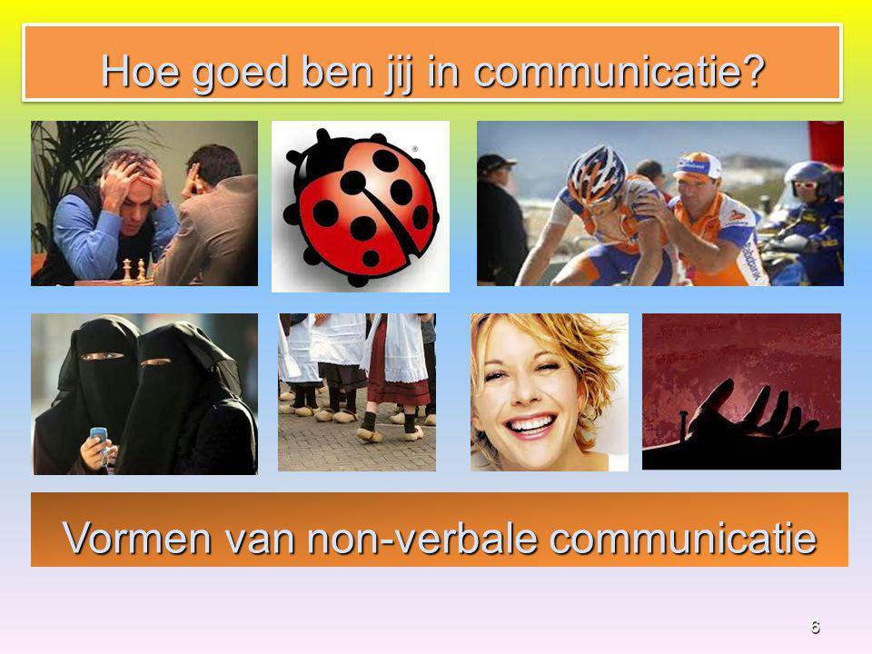 Vormen van non-verbale communicatie 6 Hoe goed ben jij in communicatie?