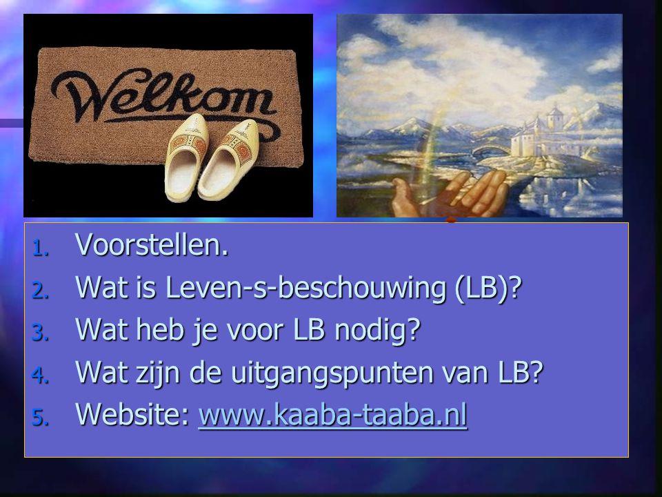 1. Voorstellen. 2. Wat is Leven-s-beschouwing (LB)? 3. Wat heb je voor LB nodig? 4. Wat zijn de uitgangspunten van LB? 5. Website: www.kaaba-taaba.nl