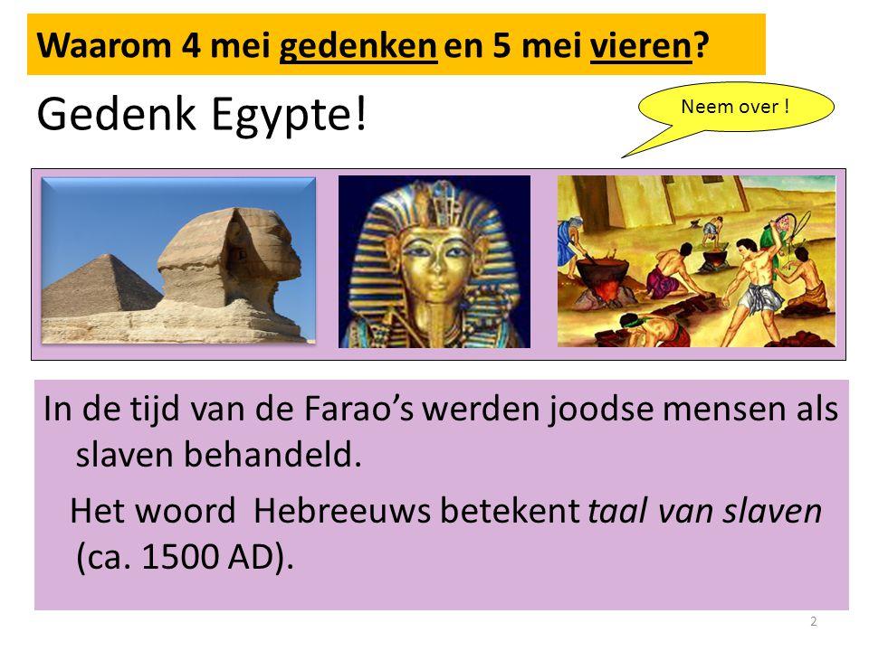 Gedenk Egypte.In de tijd van de Farao's werden joodse mensen als slaven behandeld.