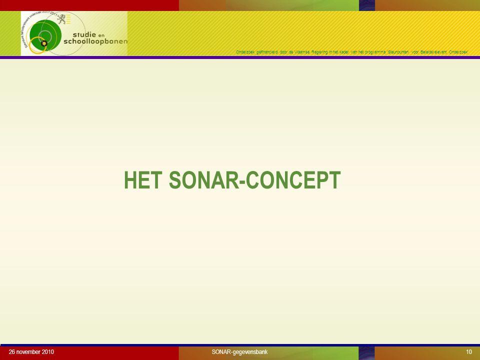 Onderzoek gefinancierd door de Vlaamse Regering in het kader van het programma 'Steunpunten voor Beleidsrelevant Onderzoek' HET SONAR-CONCEPT 26 november 2010SONAR-gegevensbank10