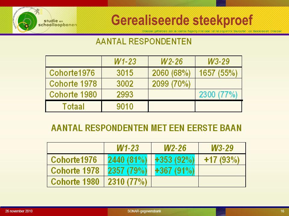 Onderzoek gefinancierd door de Vlaamse Regering in het kader van het programma 'Steunpunten voor Beleidsrelevant Onderzoek' 26 november 201016 Gerealiseerde steekproef SONAR-gegevensbank