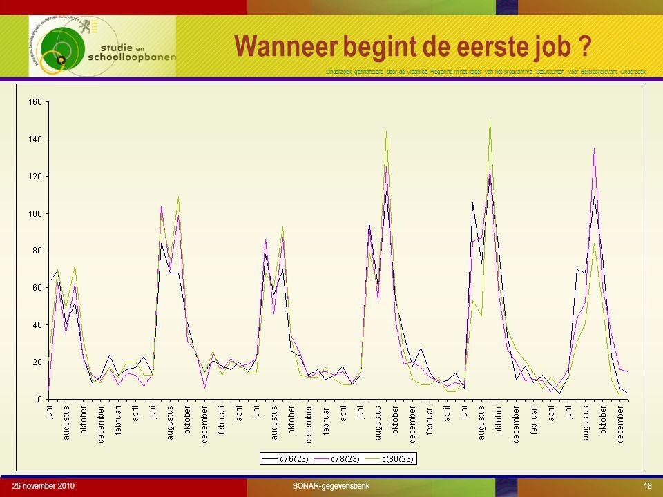 Onderzoek gefinancierd door de Vlaamse Regering in het kader van het programma 'Steunpunten voor Beleidsrelevant Onderzoek' Wanneer begint de eerste j
