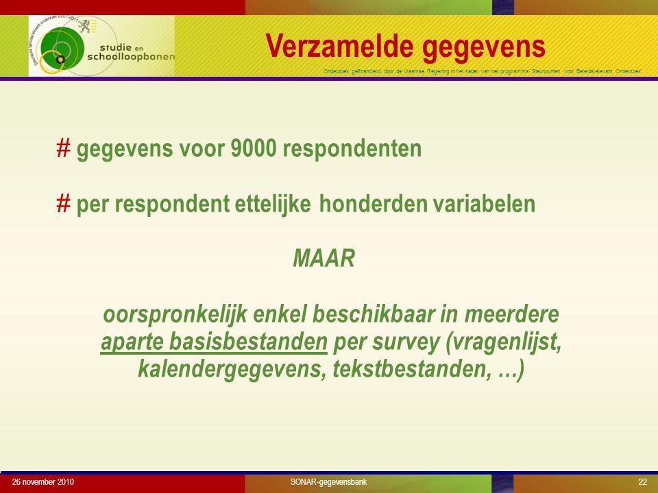 Onderzoek gefinancierd door de Vlaamse Regering in het kader van het programma 'Steunpunten voor Beleidsrelevant Onderzoek' # gegevens voor 9000 respo
