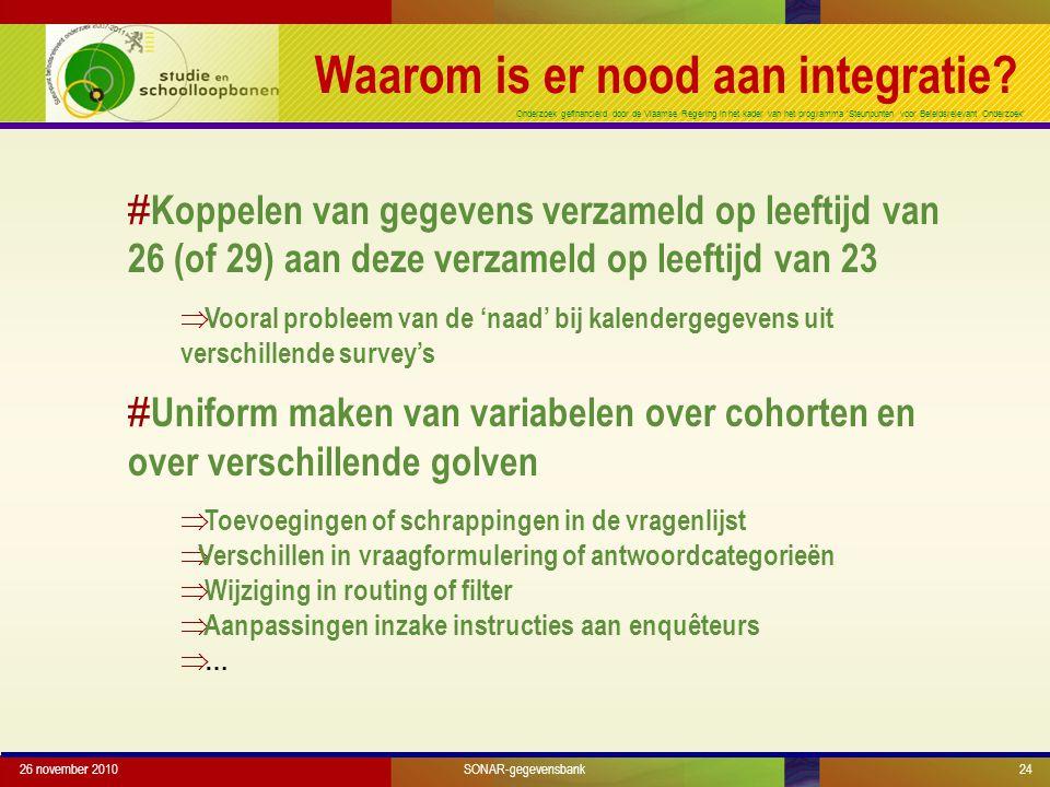 Onderzoek gefinancierd door de Vlaamse Regering in het kader van het programma 'Steunpunten voor Beleidsrelevant Onderzoek' Waarom is er nood aan integratie.