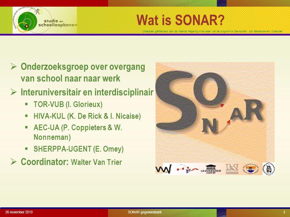 Onderzoek gefinancierd door de Vlaamse Regering in het kader van het programma 'Steunpunten voor Beleidsrelevant Onderzoek' 26 november 20103 Wat is SONAR.