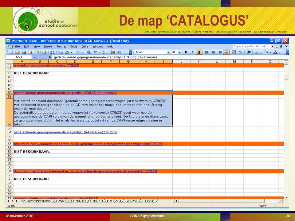 Onderzoek gefinancierd door de Vlaamse Regering in het kader van het programma 'Steunpunten voor Beleidsrelevant Onderzoek' 26 november 201030SONAR-gegevensbank De map 'CATALOGUS'