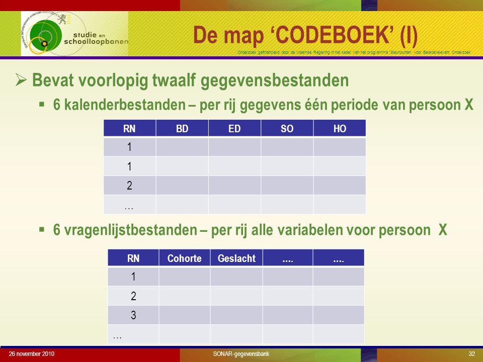 Onderzoek gefinancierd door de Vlaamse Regering in het kader van het programma 'Steunpunten voor Beleidsrelevant Onderzoek'  Bevat voorlopig twaalf gegevensbestanden  6 kalenderbestanden – per rij gegevens één periode van persoon X  6 vragenlijstbestanden – per rij alle variabelen voor persoon X 26 november 2010SONAR-gegevensbank32 De map 'CODEBOEK' (I) RNBDEDSOHO 1 1 2 … RNCohorteGeslacht….